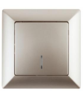 Выключатель с подсветкой, 10А-250В, СУ, Solo, шампань 4-102-04 Intro