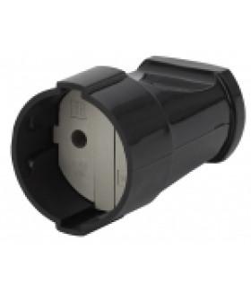 Розетка кабельная б/з прямая 10A черная Rx1-B ЭРА