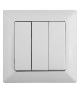 Выключатель тройной, 10А-250В, СУ, Solo, белый 4-106-01 Intro