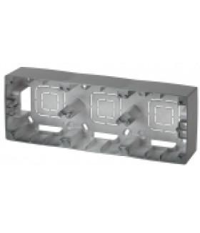 12-6103-12 ЭРА Коробка наклад. монтажа 3 поста, Эра12, графит