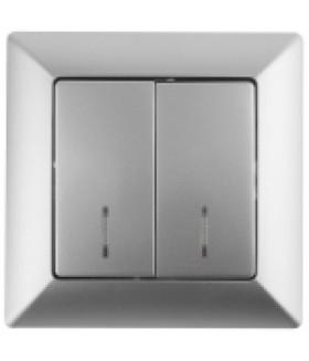 4-105-03 Intro Выключатель двойной с подсветкой, 10А-250В, СУ, Solo, алюминий