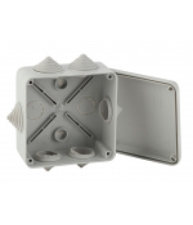 Коробка распаячная открытой установки КОРv 100х100х50мм на винтах 6 гермовводов IP55 (48/1200) ЭРА