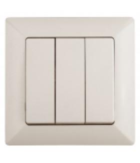 Выключатель тройной, 10А-250В, СУ, Solo, сл.кость 4-106-02 Intro