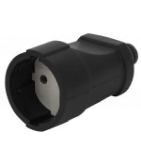 Розетка кабельная б/з прямая ПВХ 10A черная Rx3-B ЭРА
