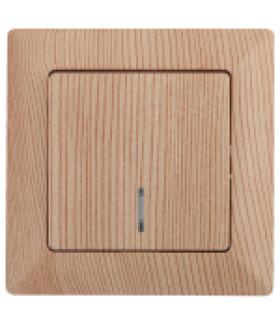 Выключатель с подсветкой, 10А-250В, СУ, Solo, сосна 4-102-11 Intro