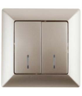 4-105-04 Intro Выключатель двойной с подсветкой, 10А-250В, СУ, Solo, шампань