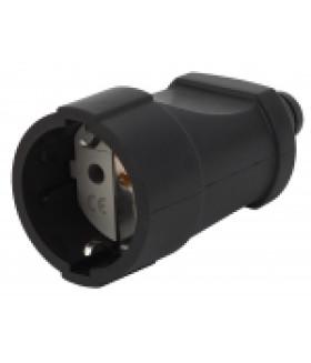 Розетка кабельная с/з прямая ПВХ 16A черная Rx4-B ЭРА