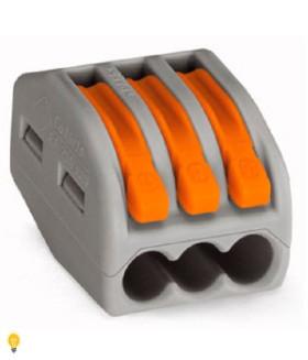 3-проводная клемма СМК, 0,08-2,5 мм2, t-85 C, оранжевый рычаг 222-413