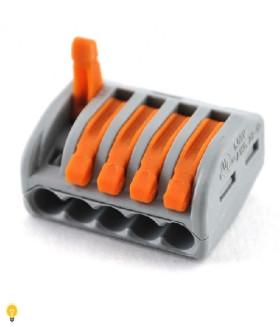5-проводная клемма СМК, 0,08-2,5 мм2, t-85 C, оранж. рычаг 222-415