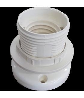 Ecola base Патрон накладной прямой с кольцом E27 Белый (1 из уп. по 10)