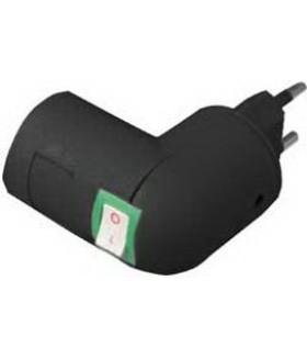 Ecola base Переходник вилка-патрон E27 с выключателем Черный