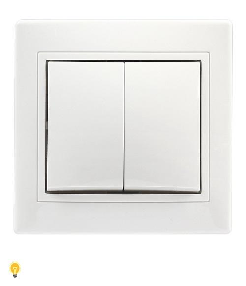 """Выключатель 2-клавишный 10А белый """"Венера"""" (SBE-01w-10-SW2-0)"""