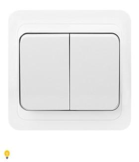 "Выключатель 2-клавишный 10А белый ""Юпитер"" (SBE-03w-10-SW2-0)"