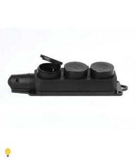 Розетка Smartbuy, трехместная с защитными крышками каучуковая 230В, 2P+PE, 16A, IP44 (SBE-16-3-00-R)