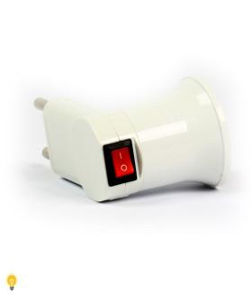 Переходник вилка-Е27 с выключателем, белый (SBE-A-L-E27)