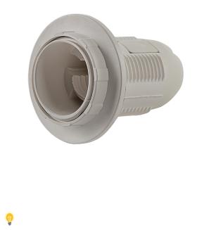 Патрон Е27 пластиковый с кольцом, термостойкий пластик, белый (SBE-LHP-sr-E27)