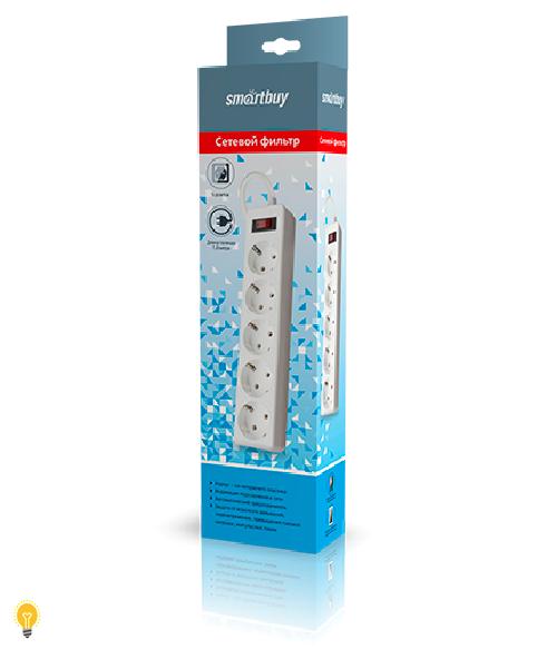 Сетевой фильтр Smartbuy, 10А, 2 200 Вт, 5 розеток, длина 1,8 м, белый (SBSP-18-W)/45