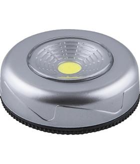 Светодиодный светильник-кнопка (1шт в блистере) 1LED 2W (3*AAA в комплект не входят). 69*25мм. серебро. FN1204