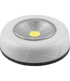 Светодиодный светильник-кнопка (3шт в блистере) 1LED 2W (3*AAA в комплект не входят). 69*25мм. белый. FN1205