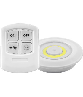Светодиодный светильник-кнопка (3шт в блистере+пульт) 1LED 3W (3*AAA в комплект не входят). 90*22мм. белый. FN1207