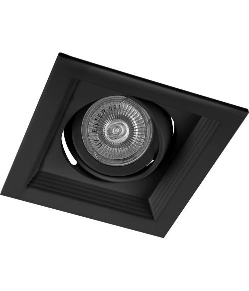 Светильник потолочный встраиваемый (ИВО) FERON DLT201. под лампу MR16 G5.3. черный. квадрат. 130*130*43 мм. монтажн.отв. 105*105мм. монтажный диаметр 105мм. корпус сталь. поворотный