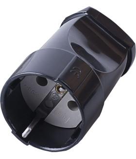 Розетка переносная STEKKER PST16-40-200 на 1 гнездо. с заземлением. Материал: пластик. цвет черный
