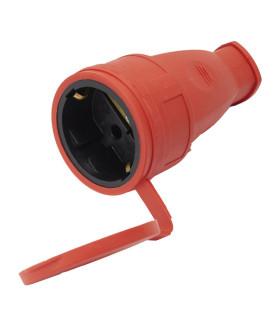 Розетка переносная STEKKER RST16-21-44 на 1 гнездо. с крышкой. с заземлением. Материал: каучук. цвет красный