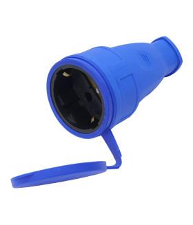 Розетка переносная STEKKER RST16-21-44 на 1 гнездо. с крышкой. с заземлением. Материал: каучук. цвет синий