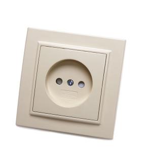Розетка скрытой установки STEKKER PST10-9009-02 на 1 гнездо. без заземления. Материал: ABS пластик/PP пластик . цвет слоновая кость