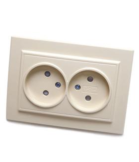 Розетка скрытой установки STEKKER PST10-9013-02 на 2 гнездо. без заземления. Материал: ABS пластик/PP пластик . цвет слоновая кость