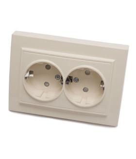Розетка скрытой установки STEKKER PST16-9014-02 на 2 гнездо. с заземлением. Материал: ABS пластик/PP пластик . цвет слоновая кость