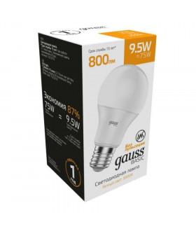 Лампа Gauss Basic A60 9,5W 800lm 3000K Е27 LED 1/10/50