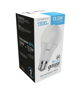 Лампа Gauss Basic A60 13,5W 1300lm 4100K Е27 LED 1/10/50