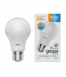 Лампа Gauss Basic A60 9,5W 820lm 3000K-4000K-6500K Е27 изм.цвет.темп. LED 1/10/50