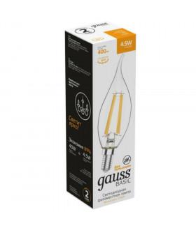 Лампа Gauss Basic Filament Свеча на ветру 4,5W 400lm 2700К Е14 LED 1/10/50