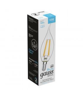 Лампа Gauss Basic Filament Свеча на ветру 4,5W 420lm 4100К Е14 LED 1/10/50