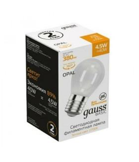 Лампа Gauss Basic Filament Шар 4,5W 380lm 2700К Е27 milky LED 1/10/50
