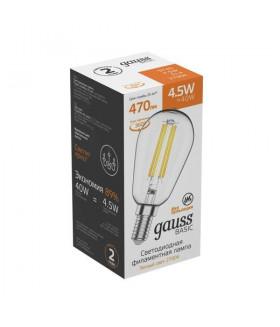 Лампа Gauss Basic Filament ST45 4,5W 470lm 2700К Е14 LED 1/10/50