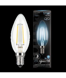 Лампа Gauss LED Filament Свеча E14 11W 750lm 4100К 1/10/50