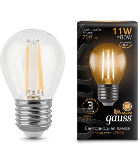 Лампа Gauss LED Filament Шар E27 11W 720lm 2700K 1/10/50