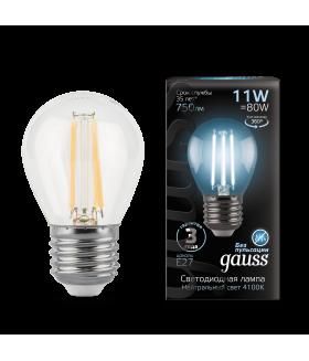 Лампа Gauss LED Filament Шар E27 11W 750lm 4100K 1/10/50