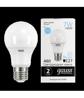 Лампа Gauss LED Elementary A60 7W E27 560lm 6500K 1/10/100