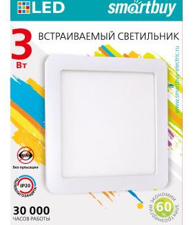 Встраиваемый (LED) светильник DL Smartbuy Square-3w/4000K/IP20 (SBL-DLSq-3-4K)