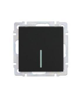 """Выключатель 1-клавишный с индикатором 10А черный """"Нептун"""" (SBE-05b-10-SW1-1)"""