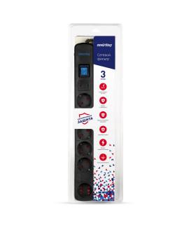 Сетевой фильтр Smartbuy, 16А, 3500 Вт, 6 гнезд, с з/ш, земля, ПВС 3x1.0, 3 м, черный (SBSP-30K-Pro)