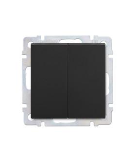 """Выключатель 2-клавишный 10А черный """"Нептун"""" (SBE-05b-10-SW2-0)"""