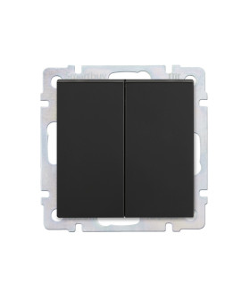 """Выключатель проходной 2-клавишный 10А черный """"Нептун"""" (SBE-05b-10-SW22-0)"""