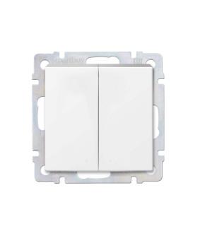 """Выключатель 2-клавишный 10А белый """"Нептун"""" (SBE-05w-10-SW2-0)"""