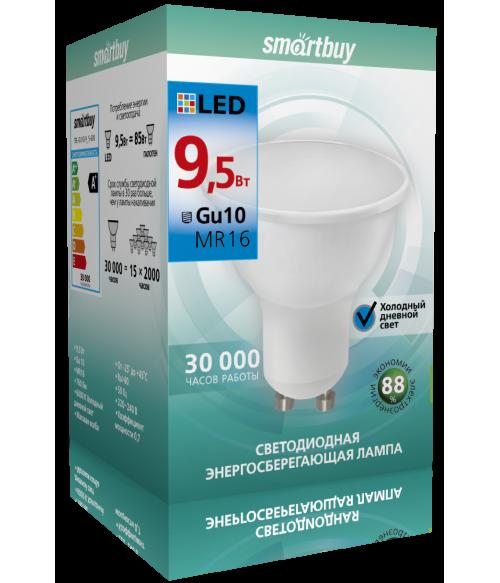 Светодиодная (LED) Лампа Smartbuy-Gu10-9_5W/6000 (SBL-GU10-9_5-60K)/100