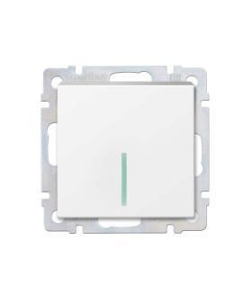 """Выключатель 1-клавишный с индикатором 10А белый """"Нептун"""" (SBE-05w-10-SW1-1)"""